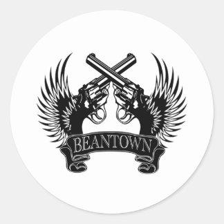 2 guns up Beantown Classic Round Sticker