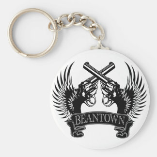 2 guns up Beantown Keychain