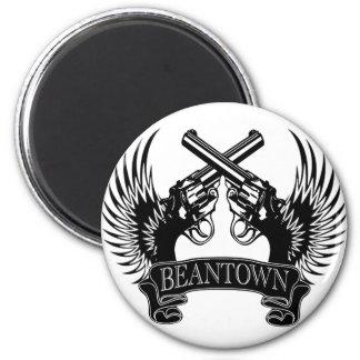2 guns up Beantown Magnet