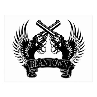 2 guns up Beantown Postcard
