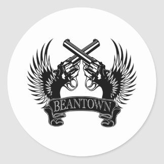 2 guns up Beantown Round Stickers