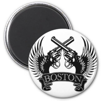2 guns up Boston Magnet
