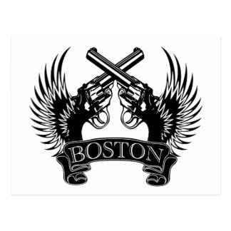 2 guns up Boston Postcard