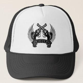 2 guns up Boston Trucker Hat