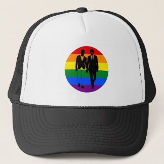 2 Guys holding hands rainbow by Bent Sentiments Trucker Hat