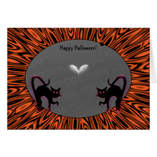 2 Halloween Cats Photo Holder Greeting Cards