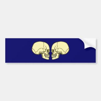 2 heads of skulls skulls bumper sticker