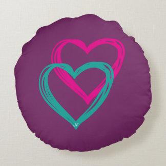 """""""2 heart"""" round pillow"""