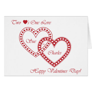2 hearts 1 love greeting card