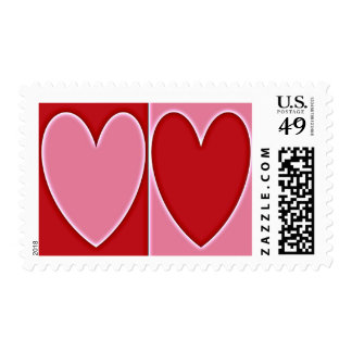 2 Hearts Aglow Postage Stamps