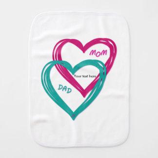 2 hearts baby burp cloth