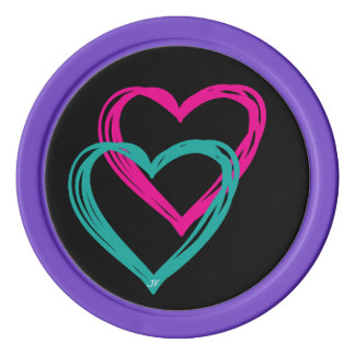 """""""2 Hearts"""" Clay Poker Chips, Set Of Poker Chips"""