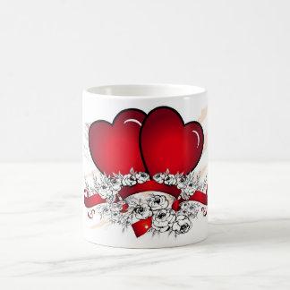 2 hearts coffee mug