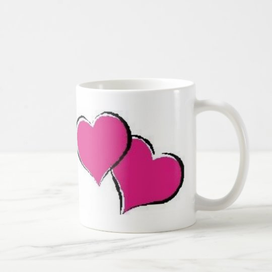 2 hearts coffee mug