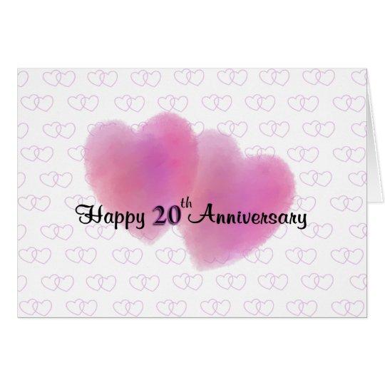 2 Hearts Happy 20th Anniversary Card Zazzle Com