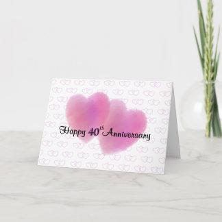 2 Hearts Happy 40th Anniversary Card