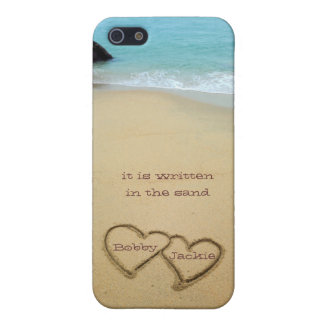 2 Hearts in the sand personalize with your names iPhone 5 Cover
