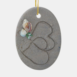 2 Hearts in the sand with shells Christmas Tree Ornament