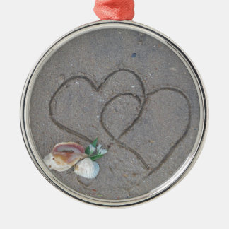 2 Hearts in the sand with shells Ornament
