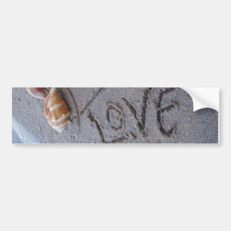 2 Hearts  in the sand with shells with Love Bumper Sticker