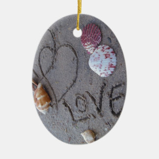2 Hearts  in the sand with shells with Love Ceramic Ornament