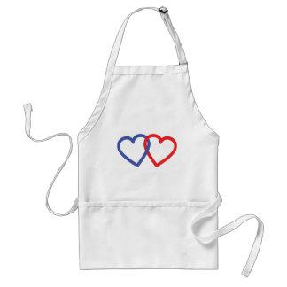 2 hearts love adult apron
