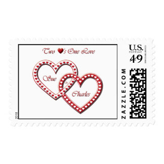 2 hearts one love stamp w/drop shadow