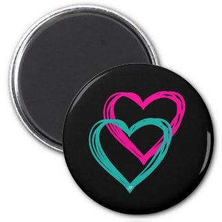 """2 Hearts"" Round Magnet"