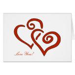 2 Hearts Valentine's Day Custom Love You Greeting Card