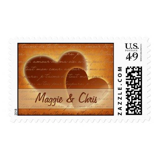 2 Hearts Wedding Postage