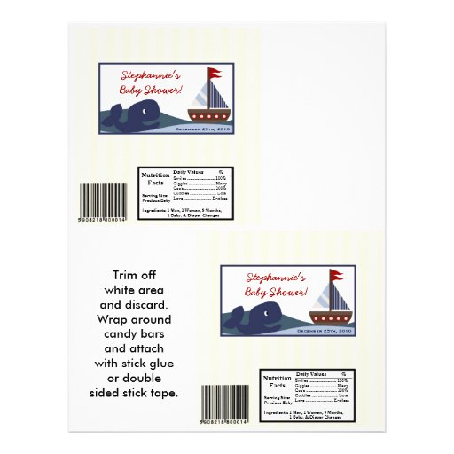 2 Hershey's Large Bar Wrapper Ahoy Mate Sailboat Personalized Flyer