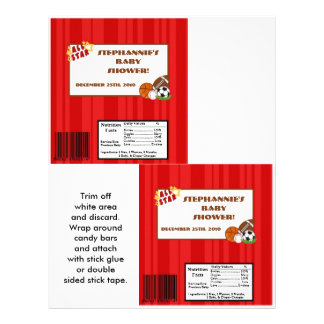 2 Hershey's Large Bar Wrapper All-Star Red Flyer