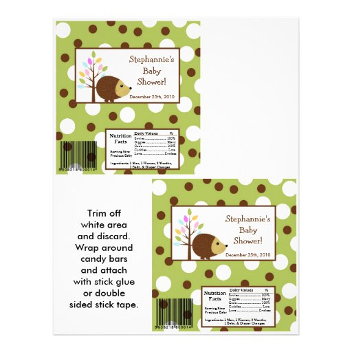 2 Hershey's Large Bar Wrapper Forest Friends Personalized Flyer