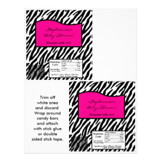 2 Hershey's Large Bar Wrapper Hot Pink Zebra Print
