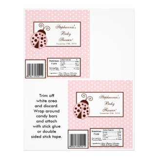 "2 Hershey's Large Bar Wrapper Pink Ladybug 8.5"" X 11"" Flyer"