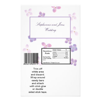 2 Hershey's Large Bar Wrapper Purple Hydrangea Flyer