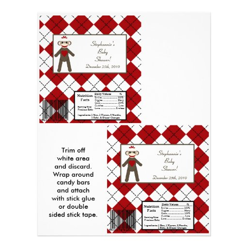 2 Hershey's Large Bar Wrapper Red Sock Monkey Personalized Flyer