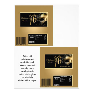 """2 Hershey's Large Bar Wrapper Sweet 16 Gold 8.5"""" X 11"""" Flyer"""