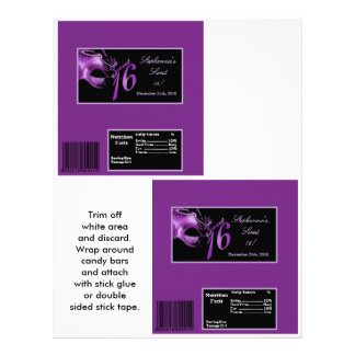 2 Hershey's Large Bar Wrapper Sweet 16 Purple