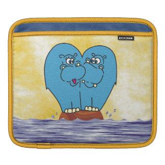 2 Hippos on a Small Island Collage iPad Sleeve