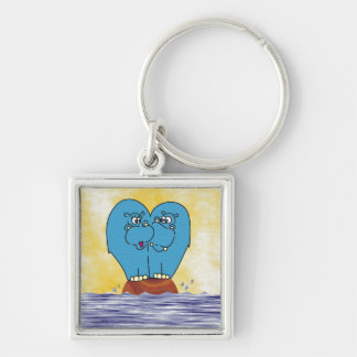 2 Hippos on a Small Island Collage Keychain