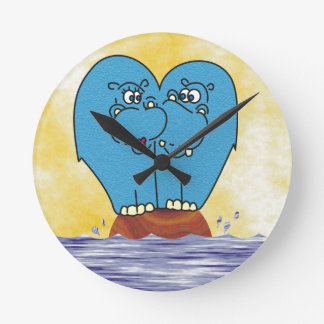 2 Hippos on a Small Island Collage Wall Clock