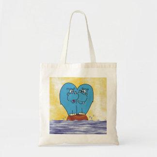 2 Hippos on a Small  Island Illustration Bag