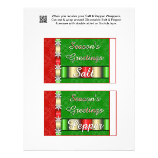 """2 Holiday Christmas Salt & Pepper Shaker Wrappers 8.5"""" X 11"""" Flyer"""