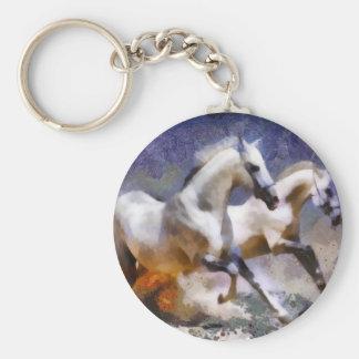 2 horses beach gallop basic round button keychain