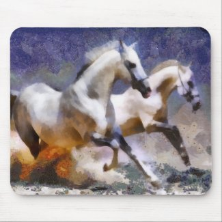 2 horses beach gallop mousepad