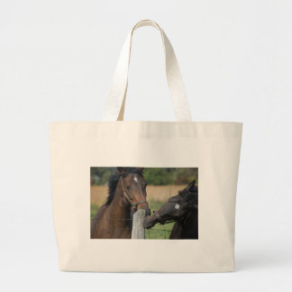 2 Horses Chewing a Fence Post Large Tote Bag
