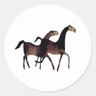 2 Horses Classic Round Sticker