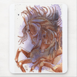 2 Horses On Amethyst Watercolor Mouse Pad