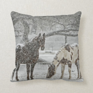 2 Horses Outside in Winters Snowy Weather Pillows